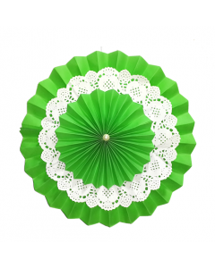 Green Rosette Paper Fans with Doily - Big