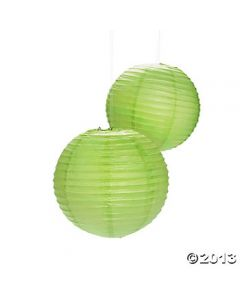 Green Round Paper Lamps 14""