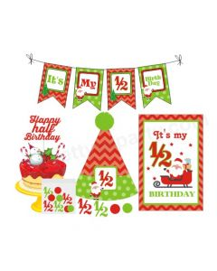 1/2 Birthday Merry Christmas Theme Package