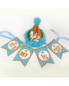 Half Birthday Cap and Bunting Set - Blue
