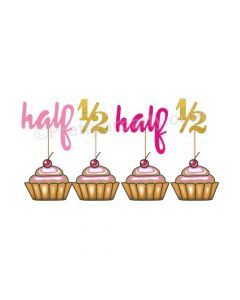 Half Birthday Cupcake Toppers - Pink