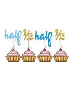 Half Birthday Cupcake Toppers - Blue