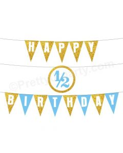 Half Birthday Bunting Blue