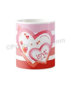 Happy Valentine Heart with Stripes Mug