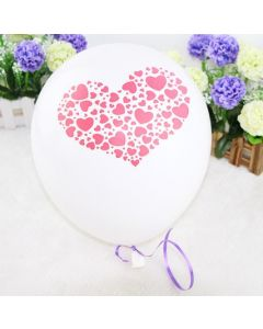 Valentines White with Pink Heart Latex Balloon