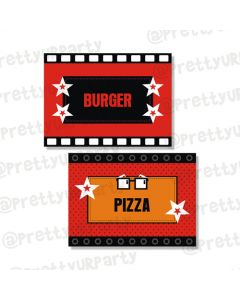 hollywood food labels / buffet table cards