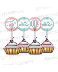 Hot Air Balloon Theme Cupcake / Food Toppers