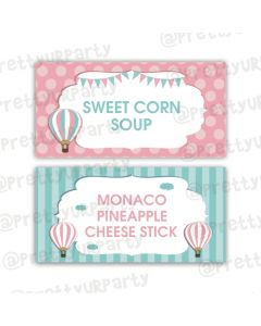 Hot Air Balloon Theme Food Labels / Buffet Table Cards