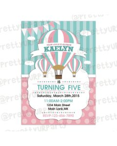 Hot Air Balloon Theme Invitations
