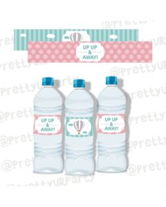 Hot Air Balloon Theme Water Bottle Labels