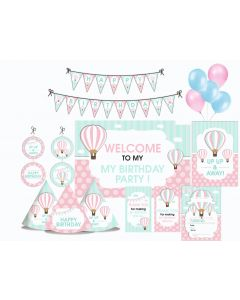 Hot Air Balloon Party Decorations - 90 Pieces