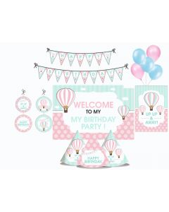 Hot Air Balloon Party Decorations Package - 70 pieces