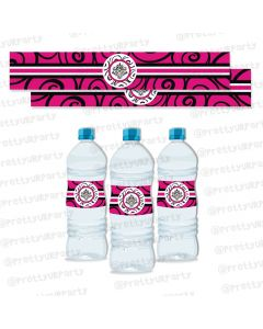 Hot Pink Damask Bottle Labels