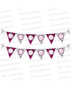 hot pink damask theme bunting