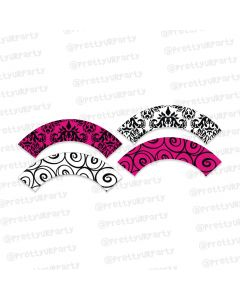 hot pink damask cupcake wrappers