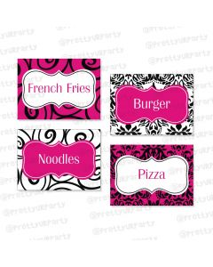 hot pink damask theme food labels / buffet table cards