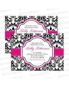 hot pink damask theme invitations