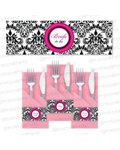 hot pink damask napkin rings