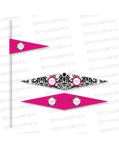 hot pink damask theme drink straws