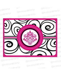 hot pink damask table mats