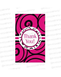 hot pink damask thankyou cards