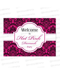 hot pink damask entrance banner / door sign