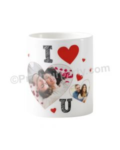 Happy Valentines I Love You Photo in Heart Mug