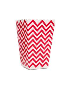 Red Chevron Popcorn Box - Pack of 10