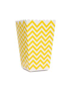 Yellow Chevron Popcorn Box - Pack of 10
