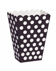 Black Polka Dot Popcorn Box - Pack of 10