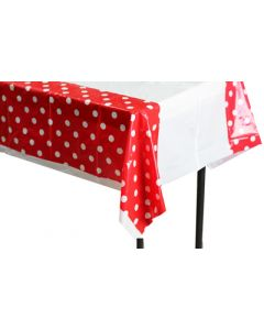 Red polka dots table cover