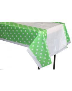 Green polka dots table cover