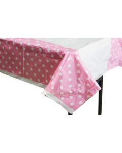 Light pink polka dots table cover