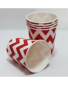 red chevron paper cups