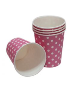 pink polka dots paper cups