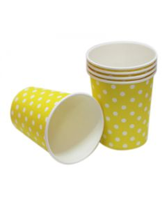 yellow polka dots paper cups
