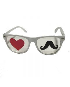 White Moustache and Hearts Goggles
