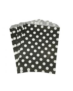 black polka dot favor bag