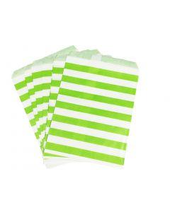green striped favor bags