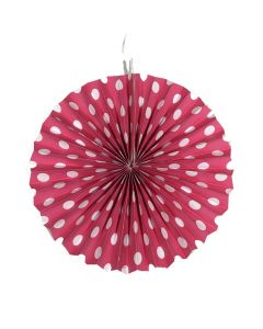 Dark Pink polka dots paper fan