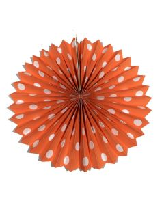 Orange polka dots paper fans