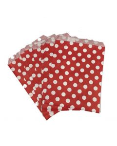 red polka dot favor bags