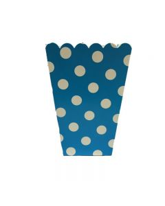 blue polka dot popcorn bag
