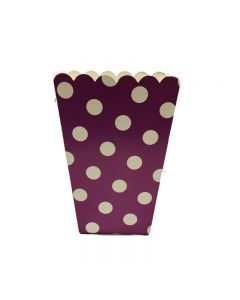 Purple Big Polka Dot Popcorn Box - Pack of 6