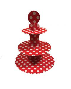 red polka dots cupcake stand