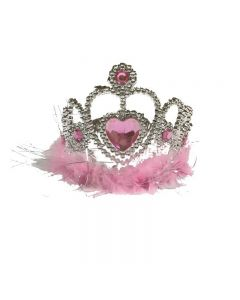 crown with feather pink