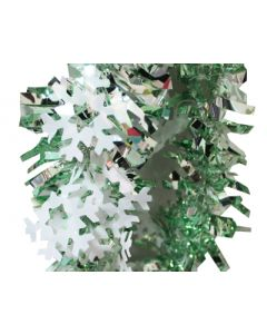 Green and White Snow Flakes Colored Garland