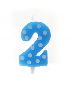 2 No Blue Polka dot candle