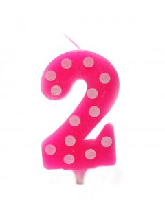 2 No Pink Polka dot candle