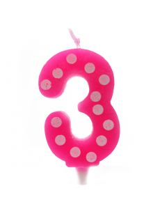 3 No Pink Polka dot candle